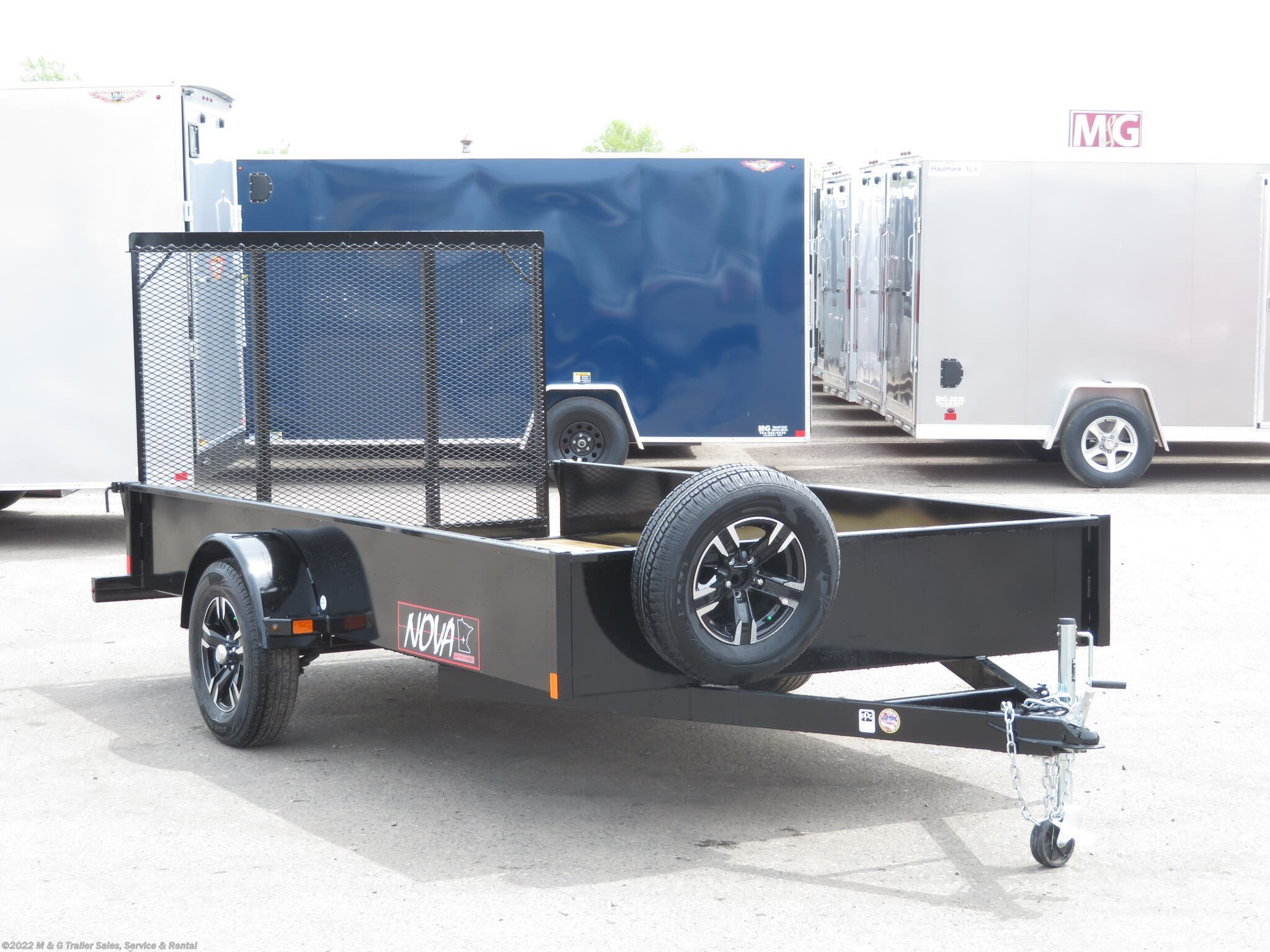 "2021 Midsota 77""x12' Solid Side Utility Trailer - Black - Stock #A000629"