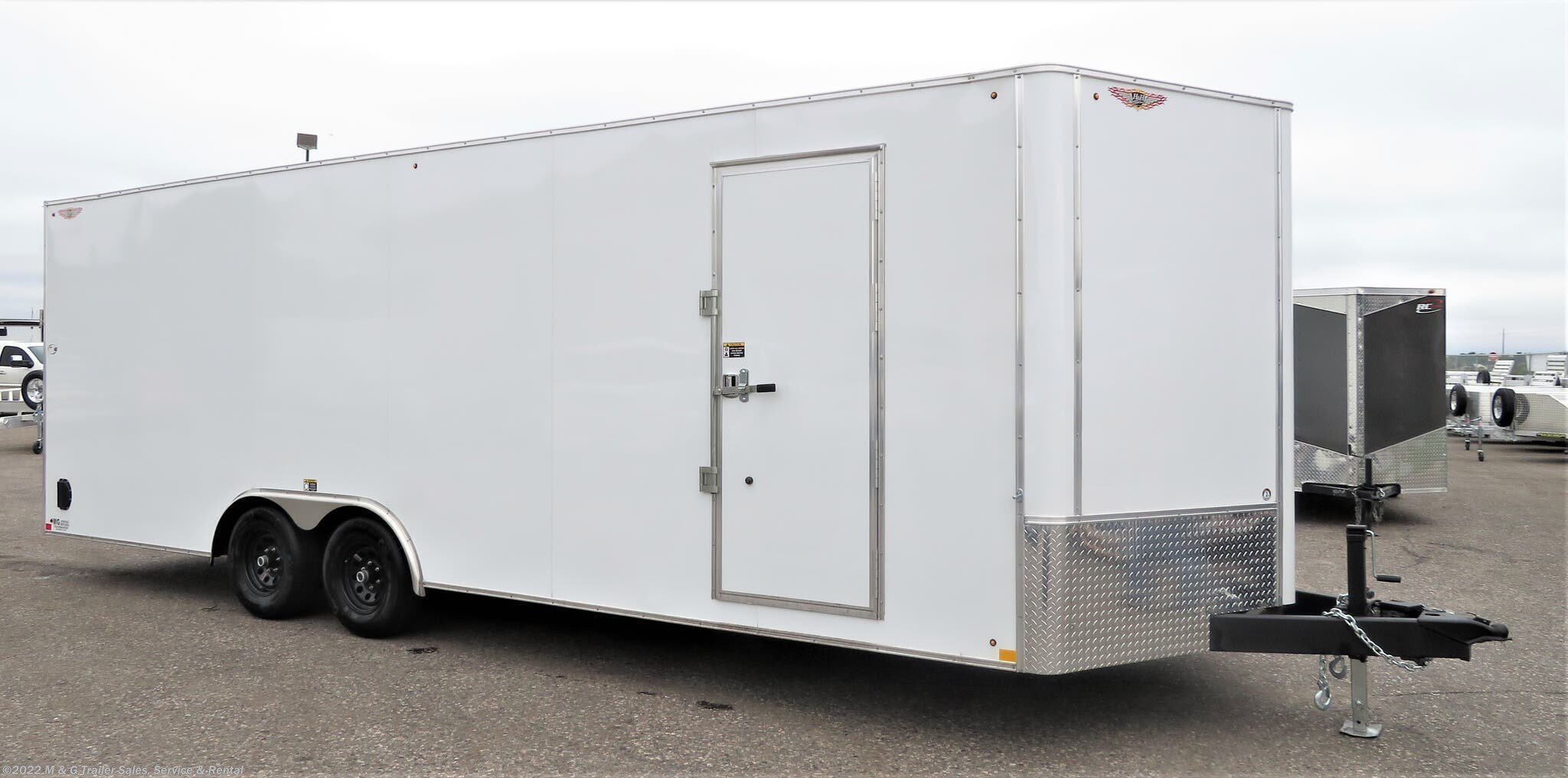 2021 H&H 8.5x24TA Enclosed 7' Int Car Hauler -V-Nose- White - Stock #545646