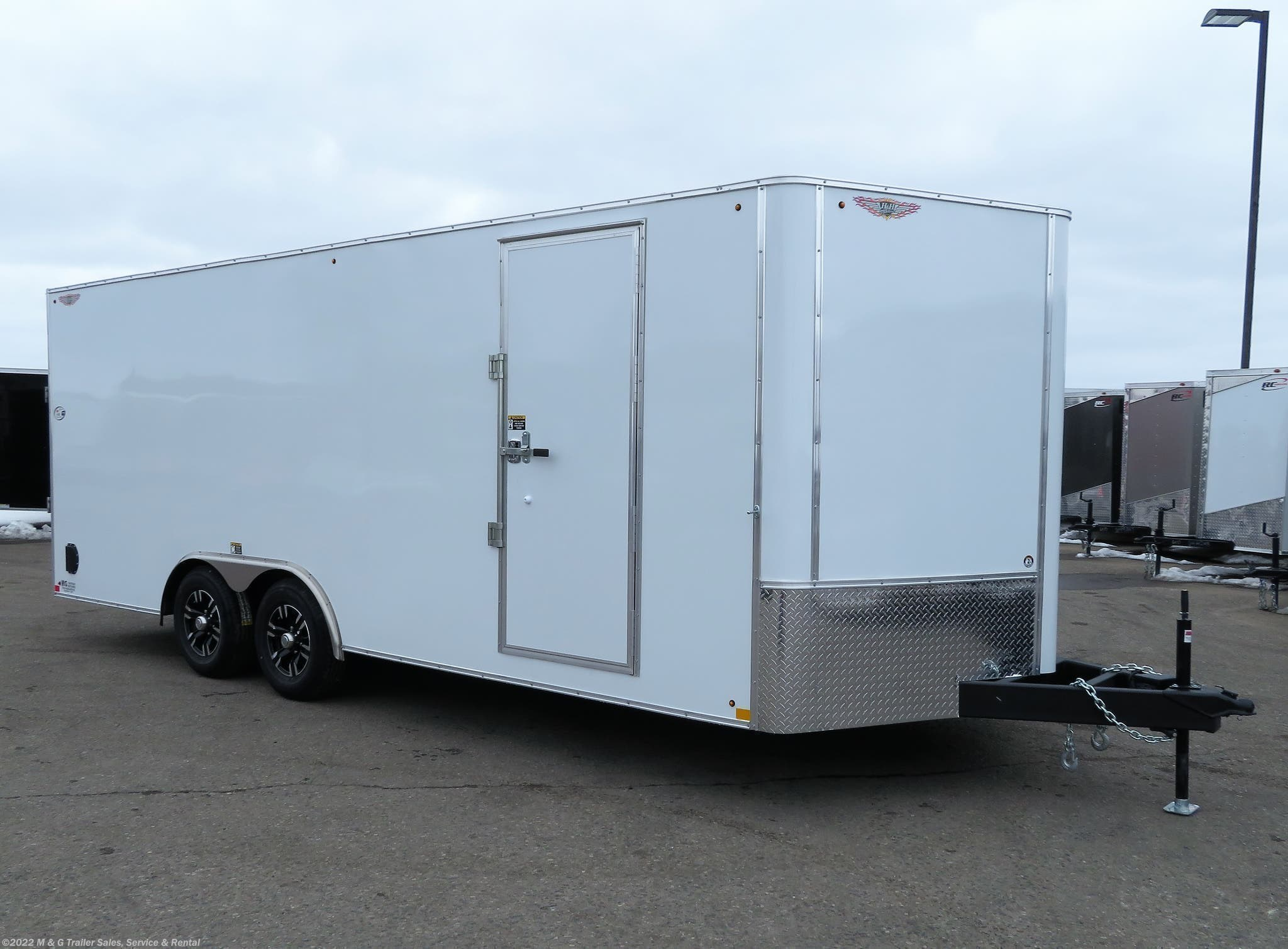 2021 H&H 8.5x20TA Enclosed 7' Int 10K Car Hauler - White - Stock #545780