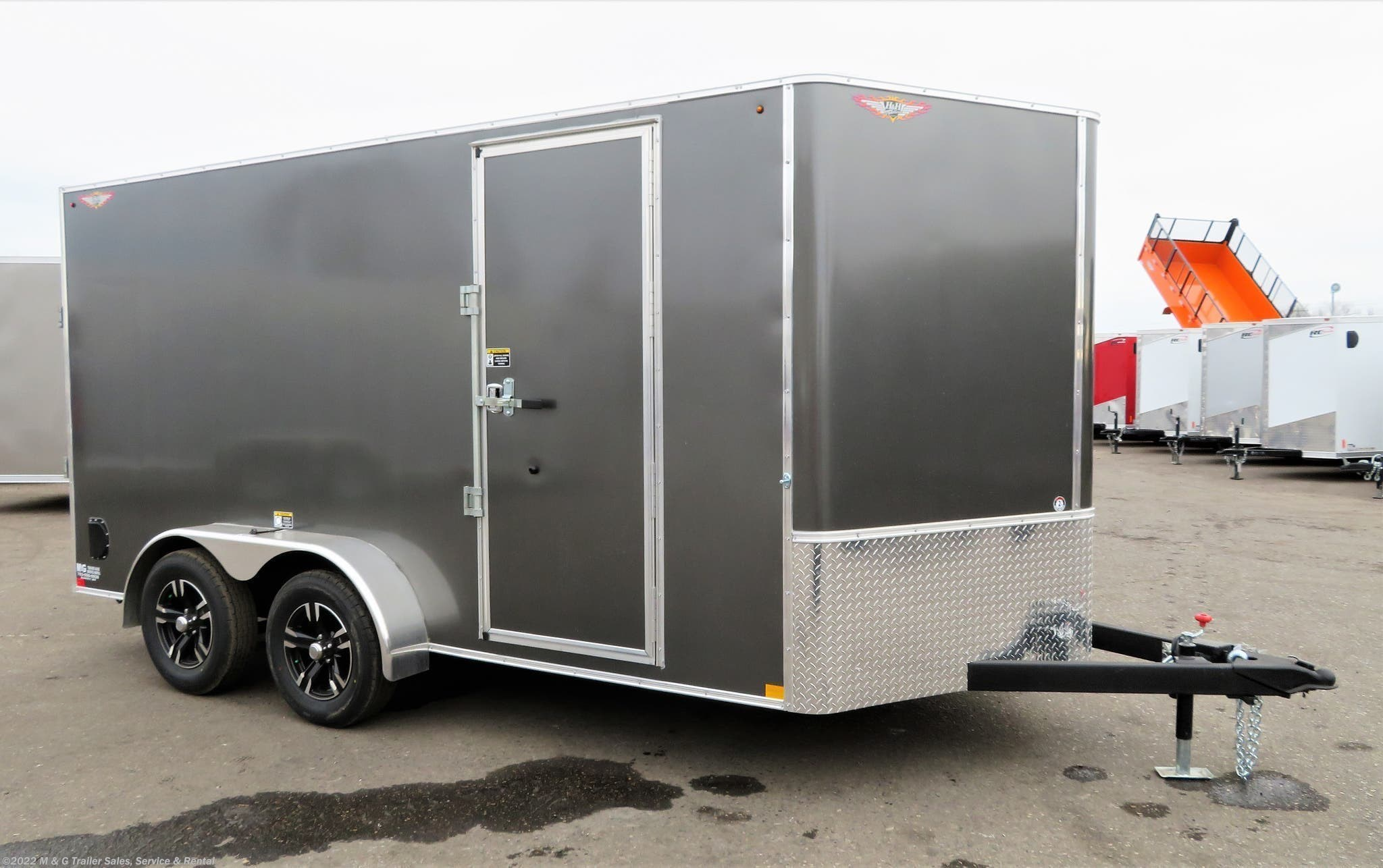 "2021 H&H 7x14TA Enclosed 6'6"" Int Cargo - Charcoal - Stock #546337"
